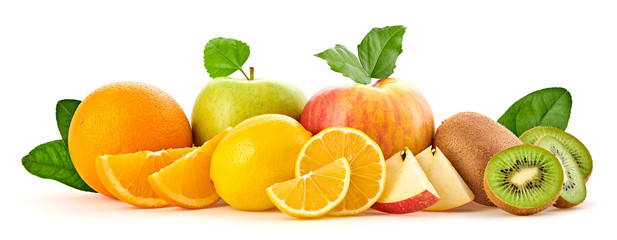 Fresh fruits healthy diet concept. Mixed vegan juicy food, green apple, orange isolated on white. Citrus freshly fruit for detox health juice or smoothie. Dieting background