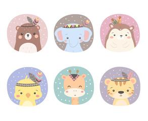 cute boho animals illustration, nursery decoration, scrapbooking