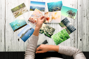 woman looking at photos, remember nostalgia for a day of rest