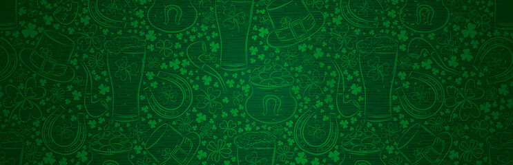 Green Patrick Day greeting banner with green clovers, beer mug, horseshoe, hat, pipe. Patrick's Day holiday design. Horizontal background, headers, posters, cards, website. Vector illustration