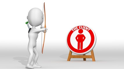 A white 3d archer points a target with a client icon