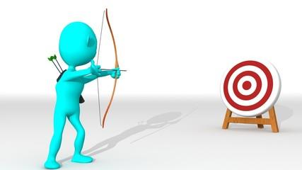 A cyan 3d archer points a target