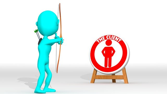 A cyan 3d archer points a target with a client icon