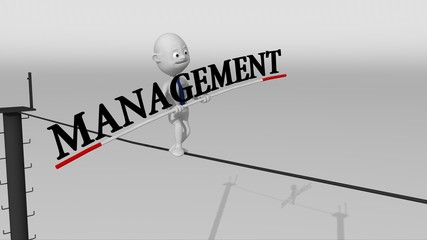 A white 3d character walks on a tight rope trying to keep the balance with a management text in his hands