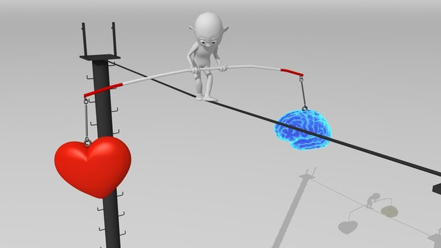 A white 3d character walks on a tight rope trying to maintain balance between brain and heart.