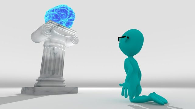 Cyan 3d character kneeling worshiping a brain resting on a pedestal