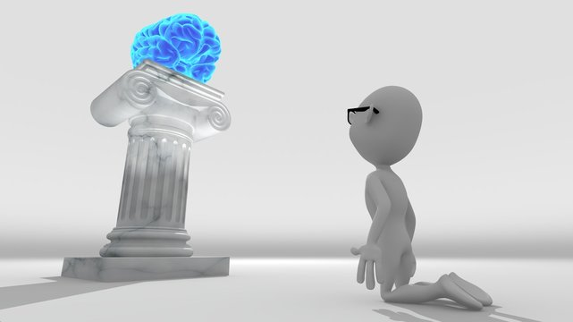 White 3d character kneeling worshiping a brain resting on a pedestal
