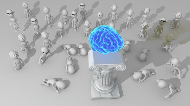 A multitude of white 3d characters approach to worship a brain seated on a pedestal