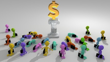 A multitude of colorful 3d characters approach to worship a money symbol seated on a pedestal