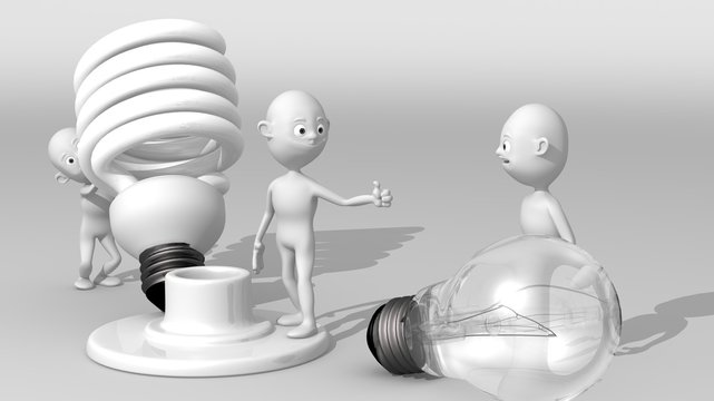 A group of 3d white characters exchanges a conventional bulb for an energy-saving bulb