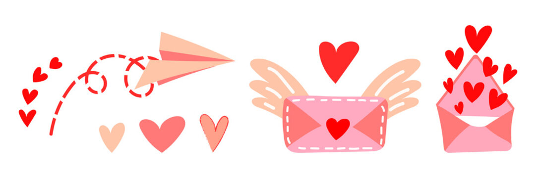Set of vector illustrations of love messages for Valentine's Day. Flying paper airplane, cute letter with wings, envelope with hearts open. Valentine's Day gift and element for logo, game, print, post