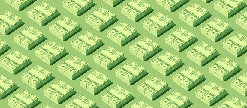 Packs of cash dollars on green background