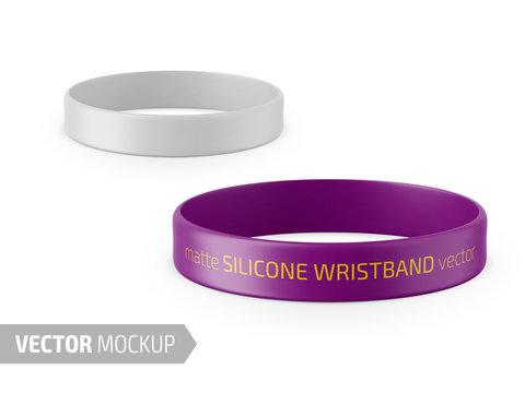 White matte silicone wristband vector mockup.
