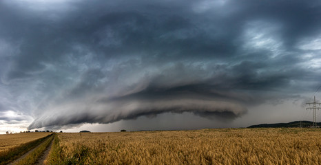 Beautiful supercell thunderstorm in the summer