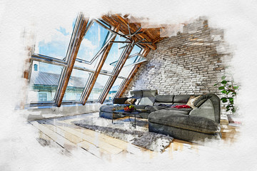 Colored sketch of attic living room interior