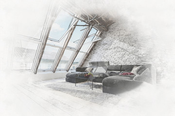 Sketched interior of attic living room