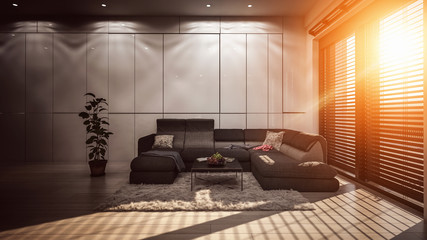 Living room with grey walls and warm sunlight