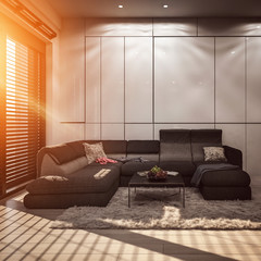 Modern living room with grey wall panels