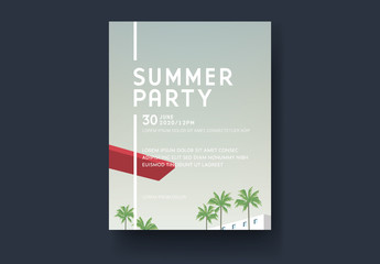 Event Flyer Layout with Palm Trees and Diving Board Illustrations