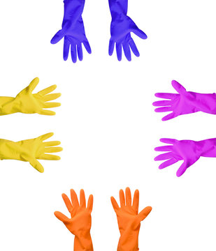 Household gloves of different colors in high resolution, isolated photo.