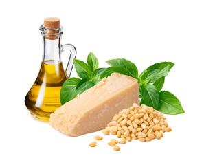 Italian pesto ingredients, green basil leaves,  parmesan cheese, oil in bottle and pine nuts isolated on white background