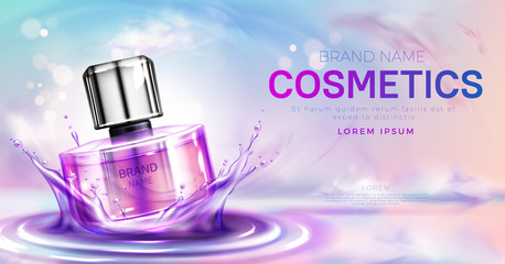 Cosmetics perfume bottle on splashing water surface with circles on pink cloudy sky background. Glass spray tube package promo mockup banner design. cosmetics product Realistic 3d vector illustration Wall mural