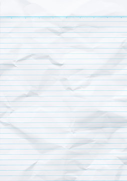Sheet of looseleaf paper,detailed lined paper texture, isolated, school exercise book