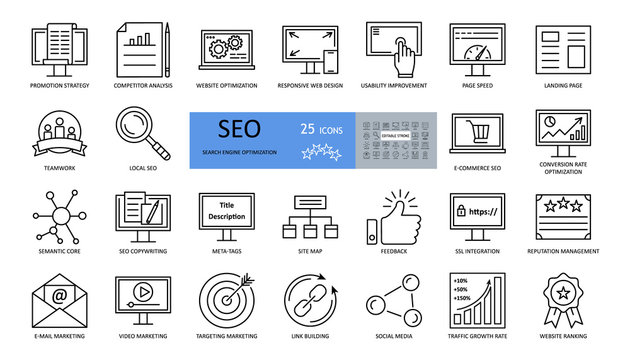 Vector set of SEO optimization icons with editable stroke. strategy, competitor analysis, responsive web design, usability improvement, page speed, landing, teamwork, conversion rate, semantic core
