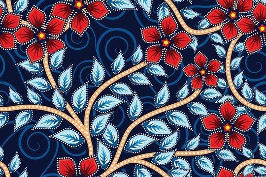 Seamless pattern with floral vector Illustration, Indonesian batik motif