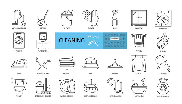 Cleaning vector set of 25 icons with editable stroke. Vacuum cleaner, laundry, ironing, sponge, washing dishes, windows and floors, sweeping dust, cleaning the bathroom and toilet, sorting garbage.
