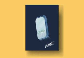 Vintage Style Postcard Layout with Airplane Window View Illustration