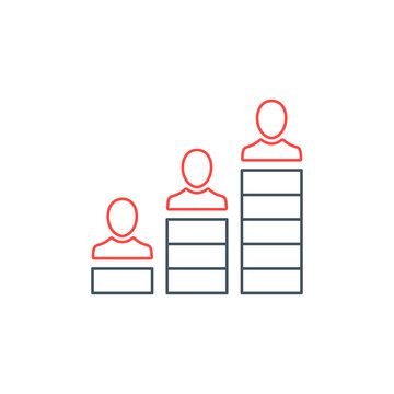 Career advancement icon for corporate management or business leader training concept. Flat line style. Editable stroke
