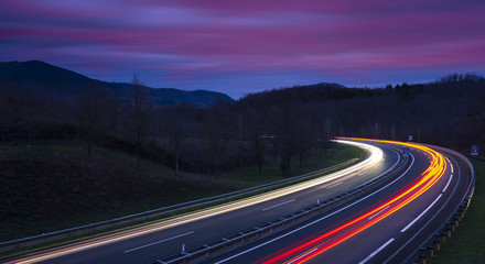 Car lights on the highway at night, Gipuzkoa