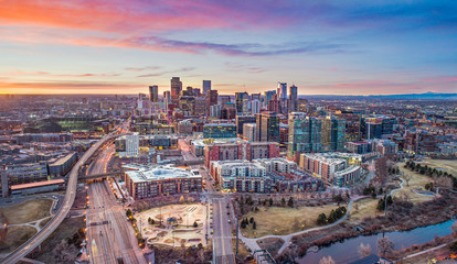 Denver Colorado CO Downtown Skyline Aerial