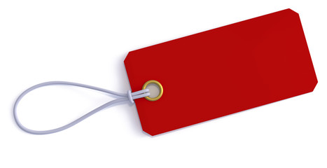 Red price tag with string 3d rendering
