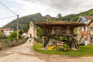 Espinaredo, Spain. An Asturian horreo, a typical granary from the northwest of the Iberian Peninsula