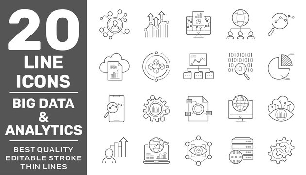Set of data and web analytics related vector line icons set.Graphs, traffic analysis, big data and more. Collection of high quality icons for web site design and mobile apps. Editable Stroke. EPS 10