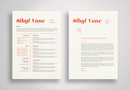 Resume and Cover Letter Layout with Red Accents