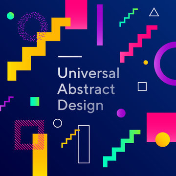 Bright abstract background design. Geometric vector with graphic elements. Dynamical forms. Rounded and angled shapes. Multiple colors. Template for logo, flyer or presentation. Vector illustration