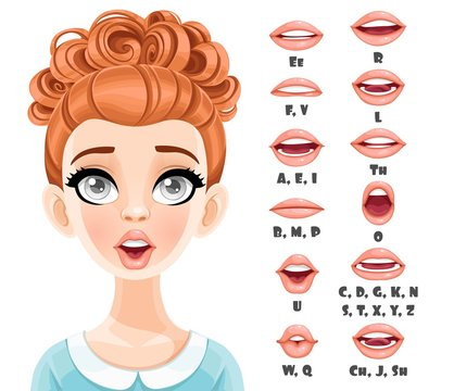 Cute red haired woman talking mouth animation. Female character speak mouths expressions