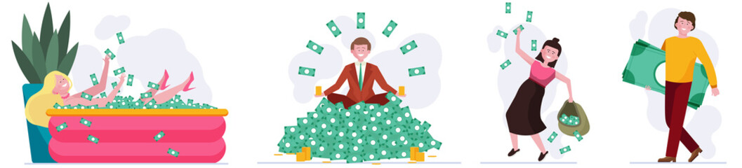 People winning cash prize set. Heap of money, bath with dollars, sack of banknotes flat vector illustration. Wealth, income, profit concept for banner, website design or landing web page