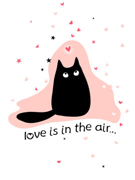 Valentine's day card with cute black cat