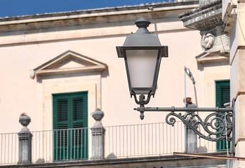 Street Lantern On Background Blurred Balcony