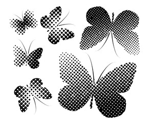 Set Butterfly of halftone dots. Vector illustration
