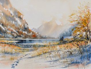Winter landscape with mountain lake painted by watercolor