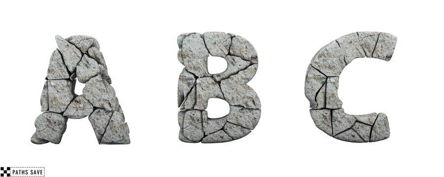 Stone letters A, B, C. 3d render. Rock alphabet. Path save.
