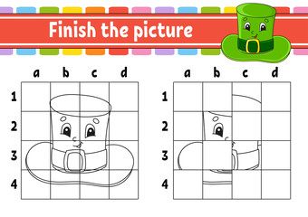 Finish the picture. Leprechaun hat. Coloring book pages for kids. Education developing worksheet. Game for children. Handwriting practice. Cartoon character. Vector illustration.