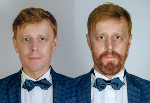 Two different photos of the same ginger bearded man in different ages. Growing up and eldering concept. Portrait of man in younger and elder ages.