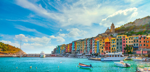 Stores photo Ligurie Portovenere village on the sea. Cinque terre, Ligury Italy