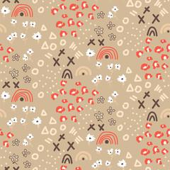 Modèle sans couture abstrait avec différentes formes et textures. Fond mixte éclectique beige. Texture chaotique avec des éléments floraux et géométriques dans un style dessiné à la main.